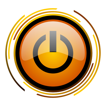 power round design orange glossy web icon