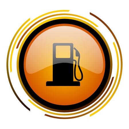 petrol round design orange glossy web icon Stock Photo