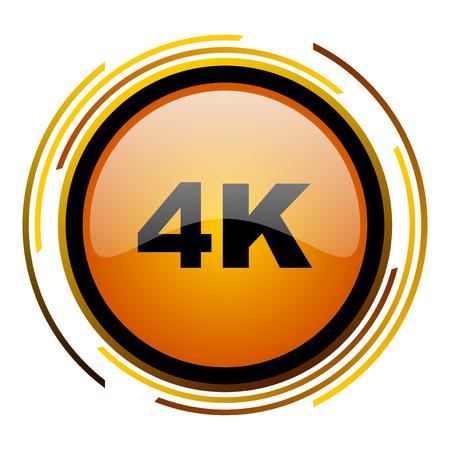 4k round design orange glossy web icon Stock Photo