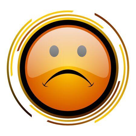 cry round design orange glossy web icon