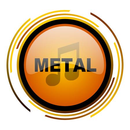 metal music round design orange glossy web icon