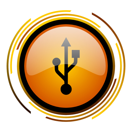 usb round design orange glossy web icon
