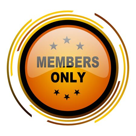 members only: members only round design orange glossy web icon Stock Photo