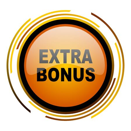 discounting: extra bonus round design orange glossy web icon Stock Photo