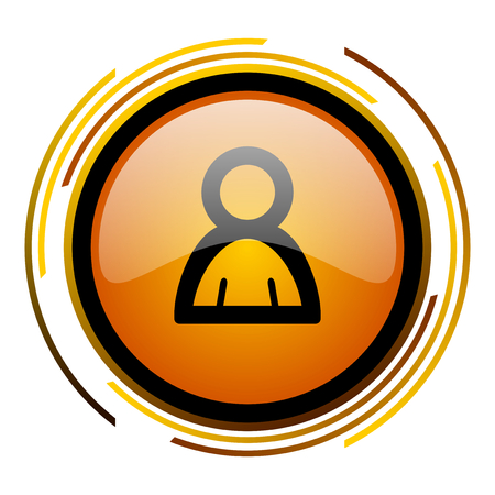 person round design orange glossy web icon