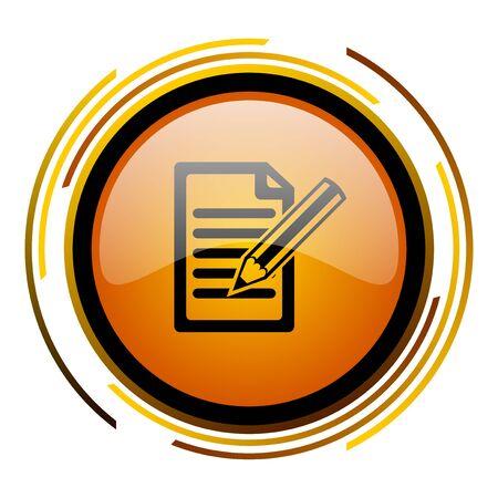 subscribe round design orange glossy web icon