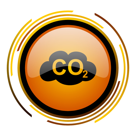 carbon dioxide round design orange glossy web icon