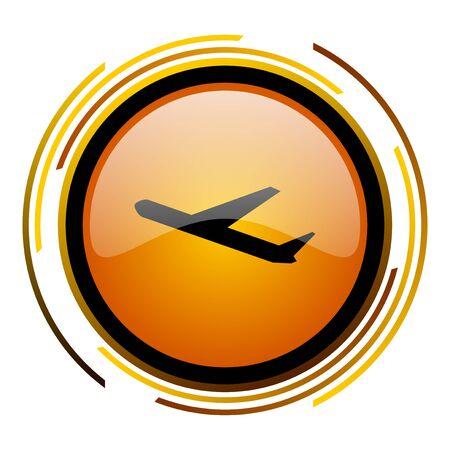 deparures round design orange glossy web icon
