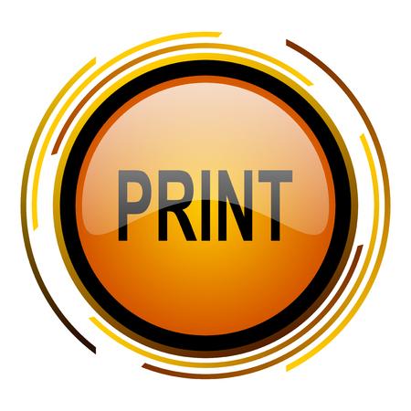 print round design orange glossy web icon Stock Photo