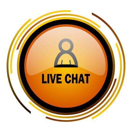 Chatter: live chat round design orange glossy web icon Stock Photo