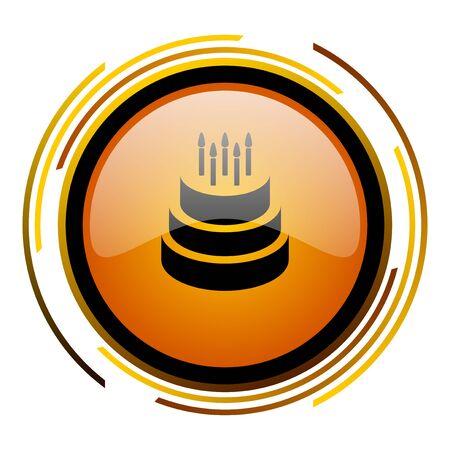cake round design orange glossy web icon