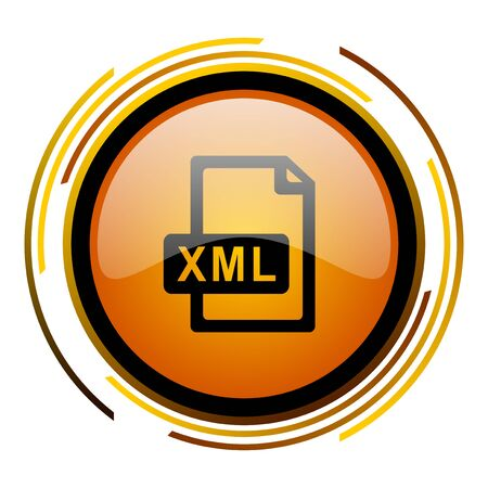 xml: xml file round design orange glossy web icon Stock Photo