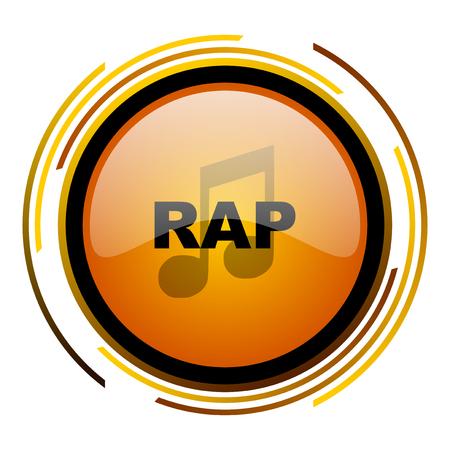 música rap redondo icono naranja web brillante diseño