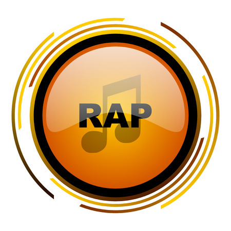 rap music round design orange glossy web icon
