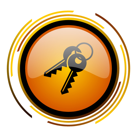 keys round design orange glossy web icon