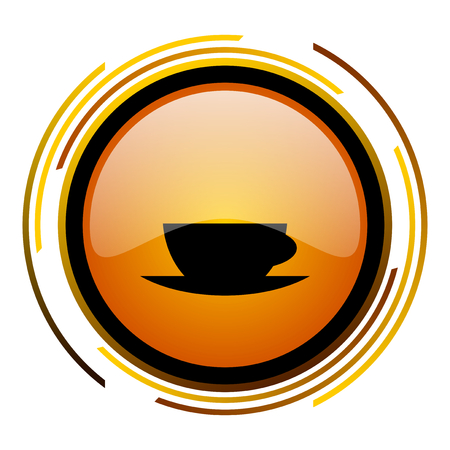 espresso round design orange glossy web icon