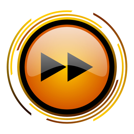 eject icon: rewind round design orange glossy web icon Stock Photo
