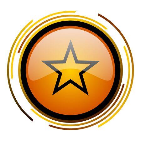 star round design orange glossy web icon