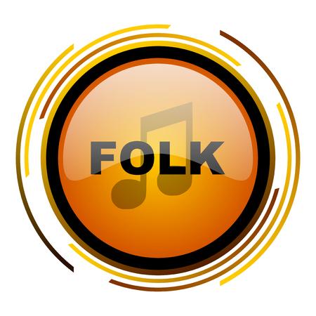 listen live stream: folk music round design orange glossy web icon