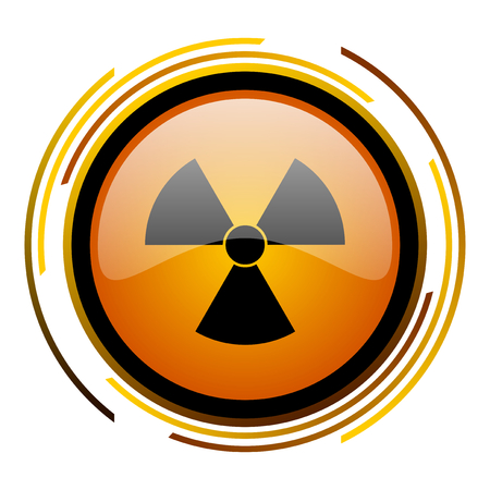 gamma radiation: radiation round design orange glossy web icon