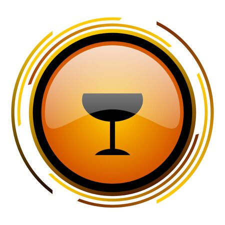 alcohol  round design orange glossy web icon