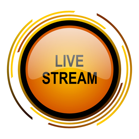 live stream round design orange glossy web icon