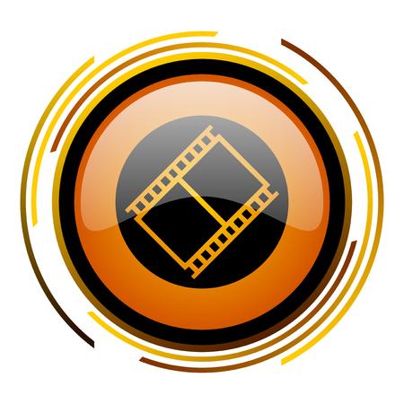 film round design orange glossy web icon