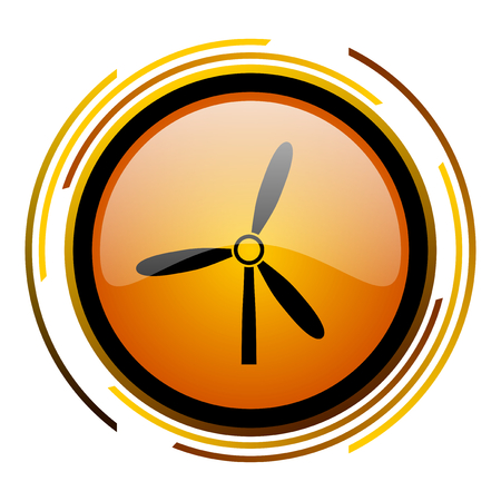 windmill round design orange glossy web icon