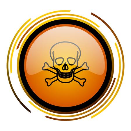 skull round design orange glossy web icon