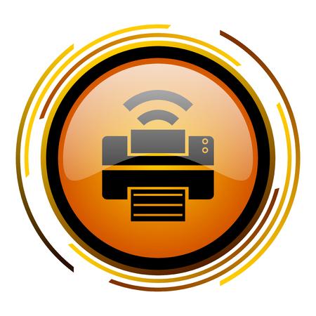 printer round design orange glossy web icon