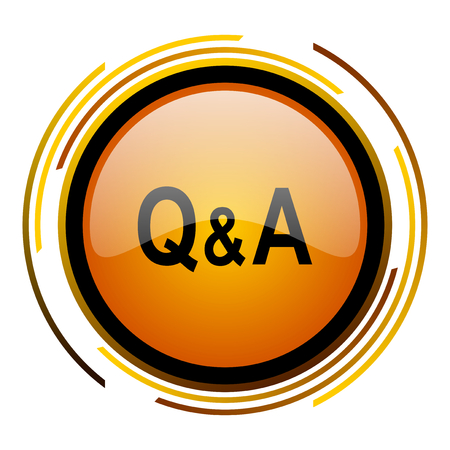 question and answer: question answer round design orange glossy web icon