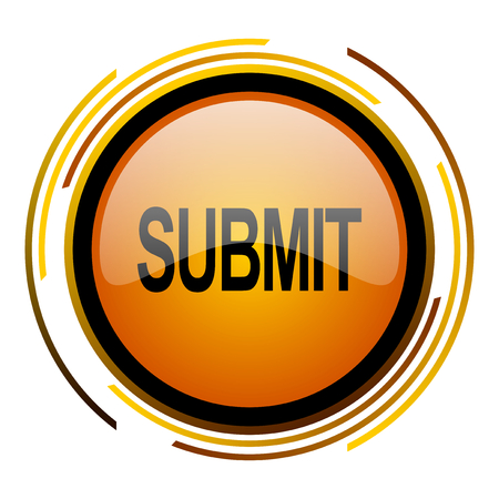 submit: submit round design orange glossy web icon Stock Photo
