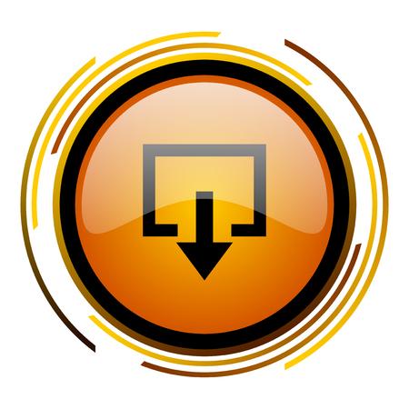 exit round design orange glossy web icon