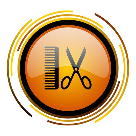 shampooing: barber round design orange glossy web icon Stock Photo