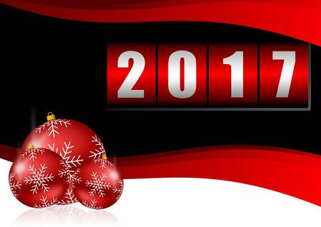 new year counter: Modern design 2017 counter happy new year background with christmas balls Stock Photo