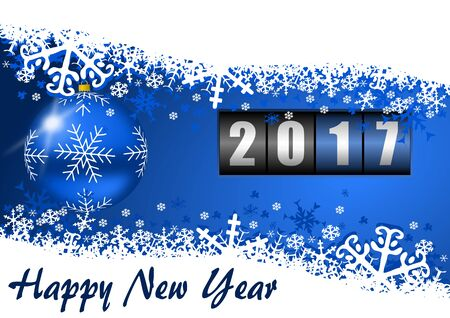 new year counter: Modern design 2017 counter happy new year background with christmas ball and snowflakes. Stock Photo