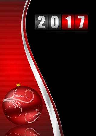 new year counter: Modern design 2017 counter happy new year background with christmas ball Stock Photo