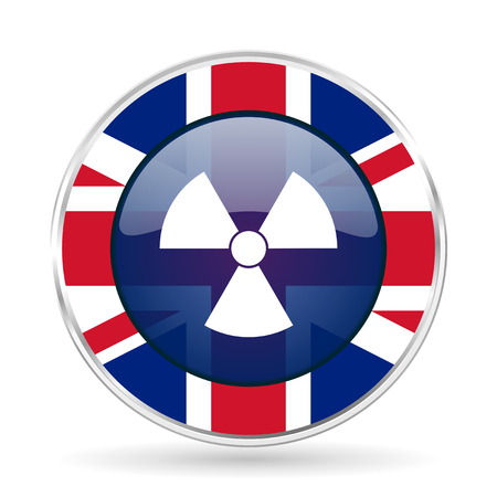 radiation british design icon - round silver metallic border button with Great Britain flag Stock Photo