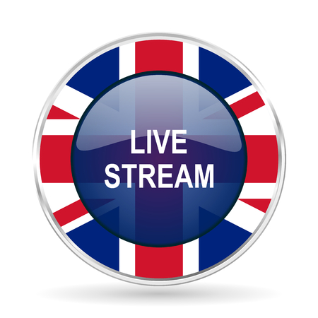 livestream: live stream british design icon - round silver metallic border button with Great Britain flag