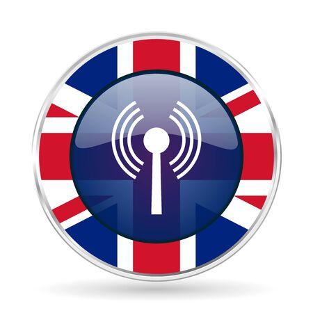 wifi british design icon - round silver metallic border button with Great Britain flag