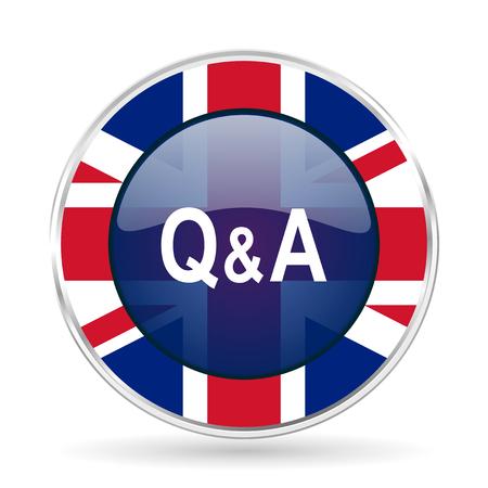 question answer british design icon - round silver metallic border button with Great Britain flag