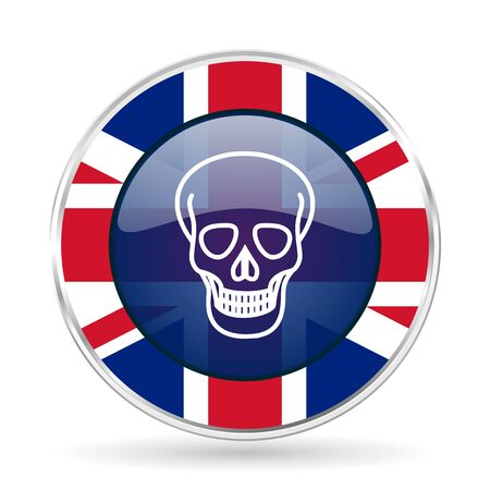 skull british design icon - round silver metallic border button with Great Britain flag