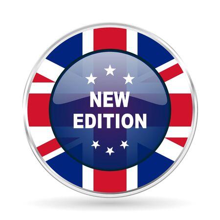 new edition british design icon - round silver metallic border button with Great Britain flag