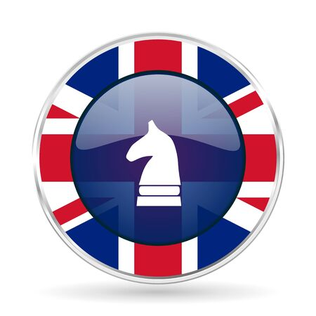 chess horse british design icon - round silver metallic border button with Great Britain flag
