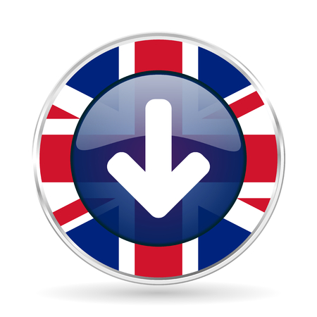 Download arrow british design icon - round silver metallic border button with Great Britain flag