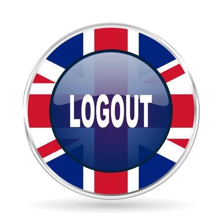 logout british design icon - round silver metallic border button with Great Britain flag Stock Photo