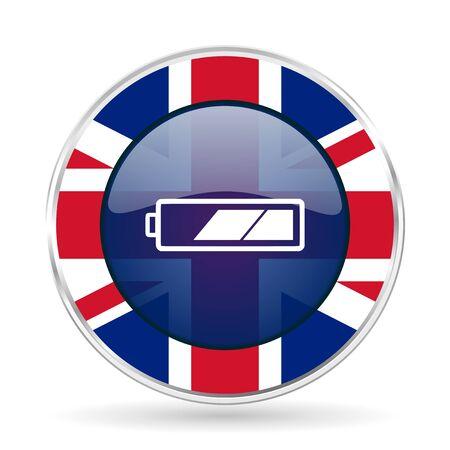 battery british design icon - round silver metallic border button with Great Britain flag