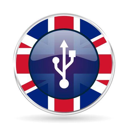 pendrive: usb british design icon - round silver metallic border button with Great Britain flag Stock Photo