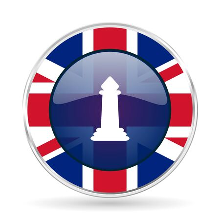 chess british design icon - round silver metallic border button with Great Britain flag