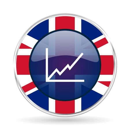chart british design icon - round silver metallic border button with Great Britain flag